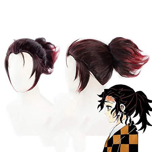 Anime Demon Slayer: Kimetsu No Yaiba Tanjiro Kamado peluca Cosplay disfraz peluca de pelo castao corto con cola de caballo Tanjirou Kamado