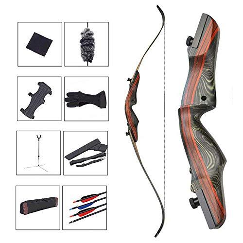 AGGF Outdoor Bogenjagd Bogenschießen Set, Holz Abnehmbarer Recurve Bogen mit 6 Pfeilen und Köcher und Armschutz für die Jugendübungen Zielschießen Langbogen, 30 Pfund