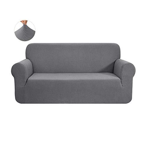 CHUN YI 1-Stück Sofa Überwürfe Sofabezug Jacquard Elastische Stretch Spandex Couchbezug Sofahusse Sofa Abdeckung (Hellgrau, 2-sitzer)