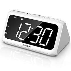 ANJANK Digital Alarm Clock FM Radio - Dual Alarms with 8 Sounds, Large LED Number Display, Adjustable Dimmer/Volume, USB Charger, Sleep Timer, Compact Triangle Clock Best for Bedside Bedroom, White