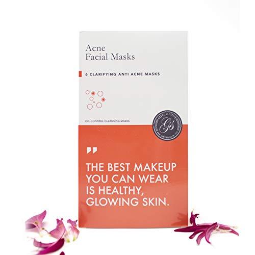 Gesichtsmasken (6 Stück) - zur Behandlung von Akne/Anti-Aging & Falten/Feuchtigkeit/Anti-Stress - Beste Alternative zu koreanischen Masken (Akne, 6 Stück)