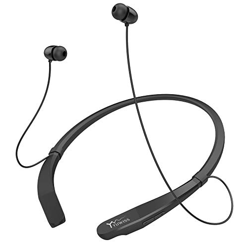 Yuwiss Bluetooth Headphones Neckband V5.0 Lightweight Wireless Headset Call Vibrate Alert Sport Earbuds w/Mic Earphones 10-Hour Playtime for Gym Running Compatible with iPhone Samsung Android (Black)