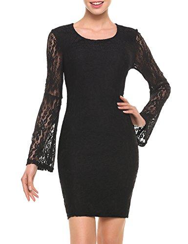 Zeagoo Damen Freizietkleider elegant abendkleid A-linie abschlusskleider etuikleid mit spitzen sommer Schwarz XL