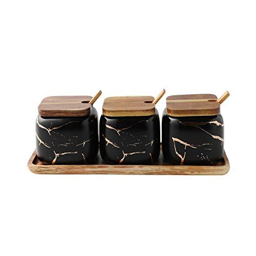 JIAODIE Keramik Gewürzbehälter, Zucker Dosen Salz MSG Salz Pfeffer Gewürze Glas mit Label & Bambus Deckel Löffel Küchenutensilien Behälter 3 Stück Haushalt Set,Schwarz