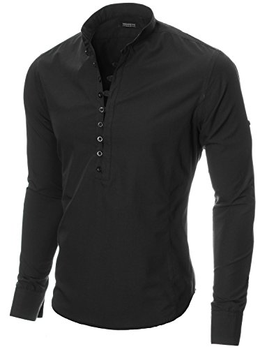 MODERNO Mens Shirts Slim Fit Casual Henley Long Sleeve Grandad Collar (MOD1431LS) Black US L