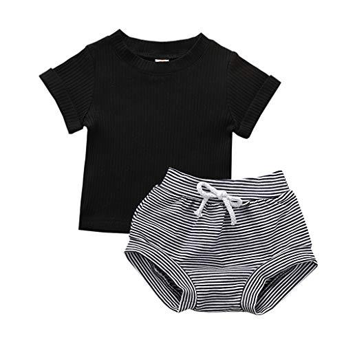 Janly Clearance Sale Conjunto de ropa para niñas de 0 a 24 meses, camiseta sólida de manga corta + pantalones cortos a rayas, bonitos regalos de Pascua, juego de ropa de bebé para 6 a 9 meses (negro)