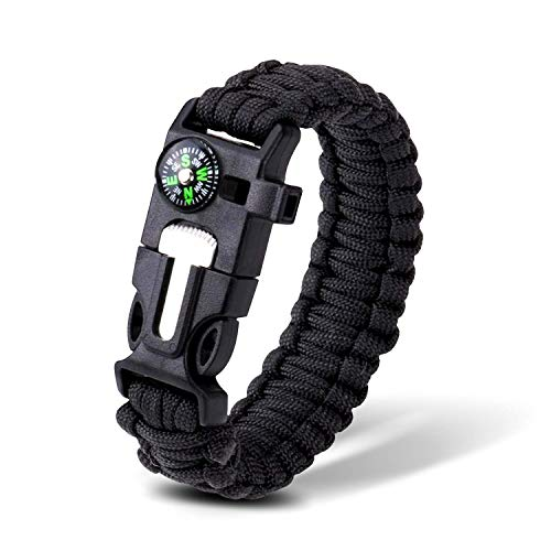 El Moe Paracord Survival Bracelet - 5-in-1 Survival Kit with Flint Fire Starter, Compass, Whistle, Wire Saw, Rescue Rope - Adjustable Band Size, Ideal for Camping, Hiking, Fishing, Outdoor Activities