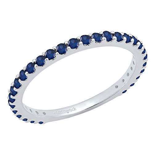 10K Round Lab-Created Gemstone Ladies Stackable Band by Dazzling Rock