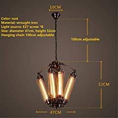Chandelier Pendant Light Fixture Industrial Retro LOFT Steampunk Flute Lamp Tube Shape Design 8 Heads Rusty Color Wrought Iron Ceiling Lighting E27 Fixture Diameter 18.5 Inch for Bar Cafe Living Room #1