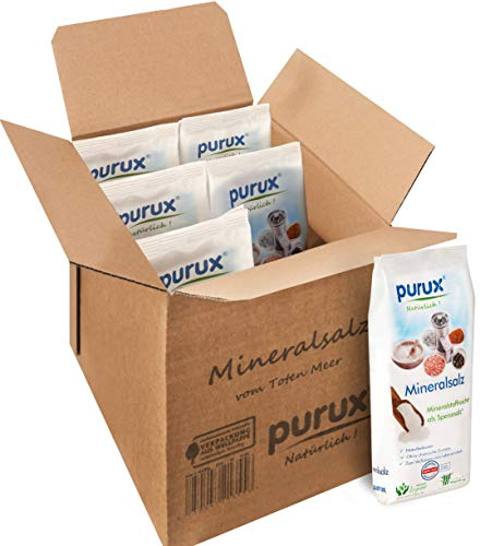 Purux Totes Meer Salz 6kg Speisesalz Mineralsalz grob Mühlensalz 6x1kg nachhaltig verpackt