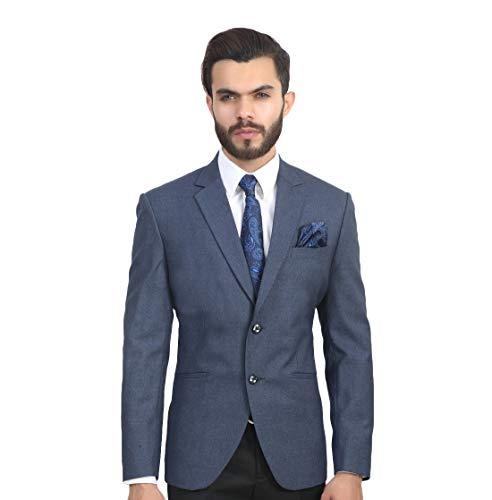 MANQ Men's Slim Fit Single Breasted Blazer (SB-MUSTARDBLUE--36_Evening Blue_36)