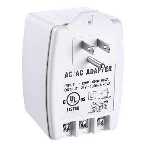 24VAC, 40 VA AC Transformer Plug in with PTC Fuse Compatible with Ring Nest Doorbell Thermostats UL Certified