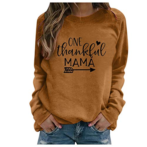 zhanxin Winter Womens Hoodie Thanksgiving Print Long-sleeved Sweatshirt Casual Blouse Pullover O-Neck Loose Sports Pullovers Brown