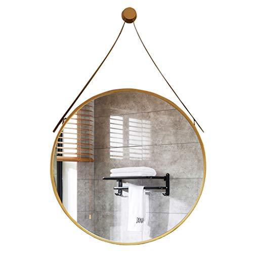 50-80cm Grand Taille, Miroir Mural à Suspendre décoratif avec Crochet/ferrure de Courroie avec Courroie en Fer, Miroir Mural Rond, Or