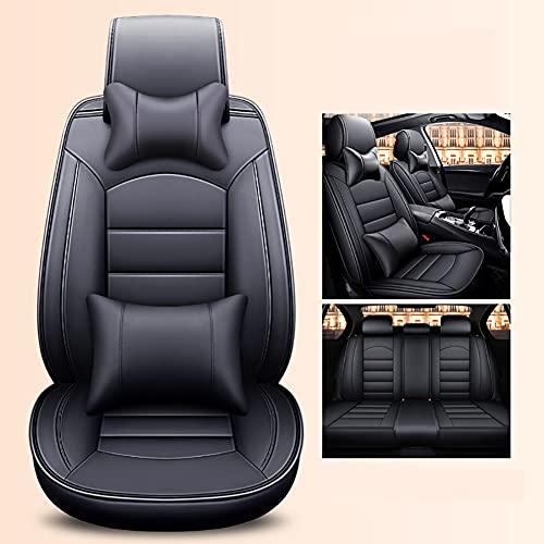 SXZSB Fundas de Asiento de Coche de Lujo de Cuero Juego Completo de 5 Asientos Ajuste Universal para Honda CRV 2018 2019 2020 2021 cómodos Accesorios Interiores de 5 Asientos para automóvil,Negro