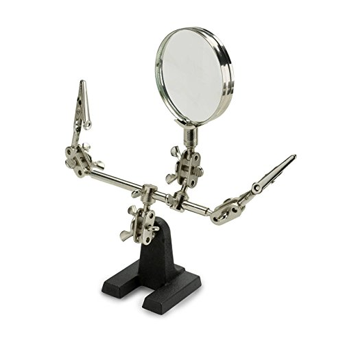 NEIKO 01902 Adjustable Helping Hand With Magnifying Glass on Solid Heavy Base | Soldering Stand with Dual Alligator Clips