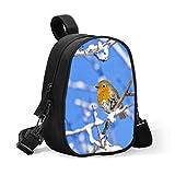 Bolsa para el almuerzo para niños, diseño de pájaros, color azul, tamaño mediano, aislante, bolsa térmica para biberones, se acopla fácilmente al cochecito para viajes o para bebés.