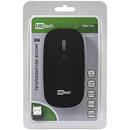Mouse Óptico Sem Fio Recarregável - Silencioso Slim (Preto)