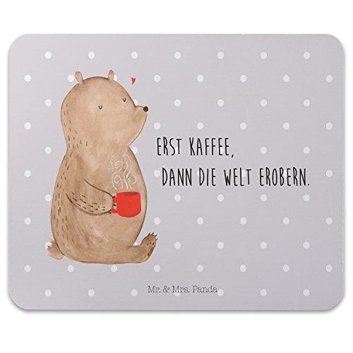 Mr. & Mrs. Panda PC, Computer, Mauspad Bär Kaffee mit Spruch - Farbe Grau Pastell