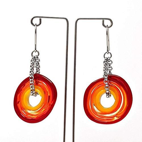 Ohrringe in Rot-Tönen aus Murano-Glas | Edelstahl | Glas-Schmuck | Unikat handmade | Personalisiertes Geschenk für sie zum Muttertag Jahrestag Hochzeit Geburtstag Weihnachten Mama Dame | rottö