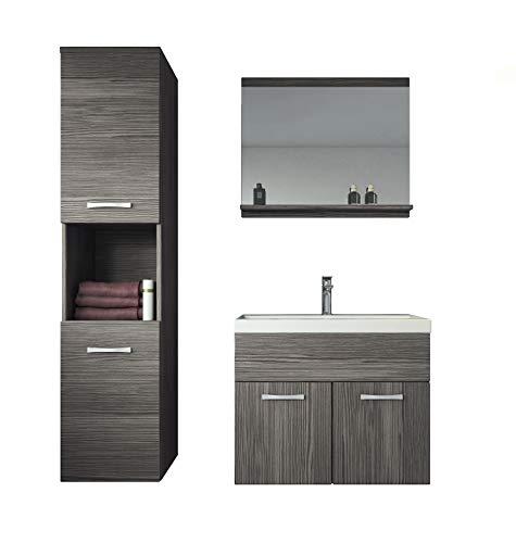 Badplaats B.V. Badezimmer Badmöbel Set Montreal 60 cm Waschbecken Bodega - Unterschrank Hochschrank Waschtisch Möbel