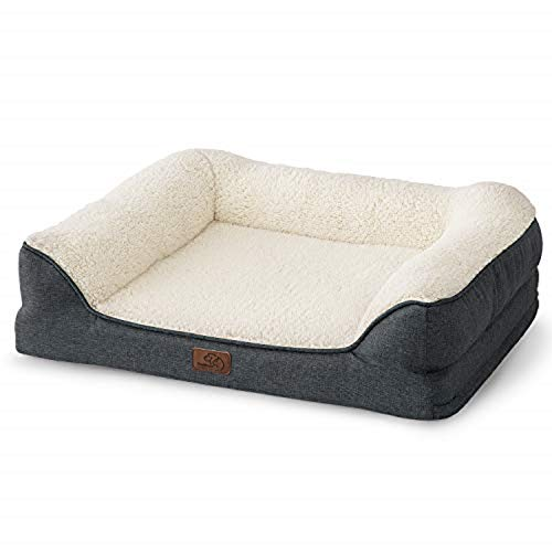 Bedsure Orthopedic Dog Beds Large Size- Memory Foam Couch Dog Sofa with Removable Washable Cover& Nonskid Bottom, 91x68x18cm