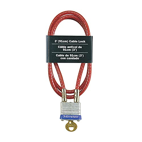 Master Lock 719D Steel Cable with Integrated Outdoor Padlock with Key, 1 Pack