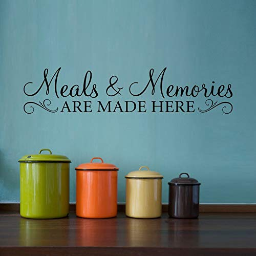 Meals & Memories Sticker mural avec citation « Meals and Memories are Made here » Version 2