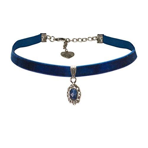 Alpenflüstern Trachten-Samt-Kropfband Trachten-Stein Trachtenkette enganliegend, Kropfkette elastisch, eleganter Damen-Trachtenschmuck, Samtkropfband schmal blau DHK196
