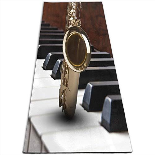 LOSUMIGE Esterilla Yoga Fondo de música de piano de saxofón Colchonetas de ejercicio Pilates para entrenamiento en casa Gimnasio Fitness Meditación Alfombra