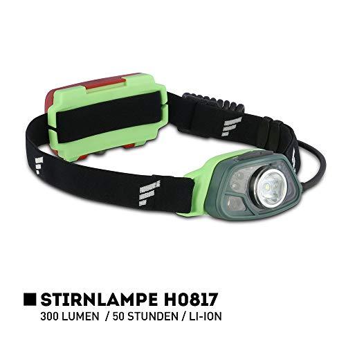 Favour Profi Outdoor Stirnlampe LED Kopflampe, 300 Lumen, IPX4 wasserdicht, wiederaufladbar (inkl. Akku), Licht- und Bewegungssensor mit Gestensteuerung, Verstellbarer Leuchtkopf, rotes Rücklicht