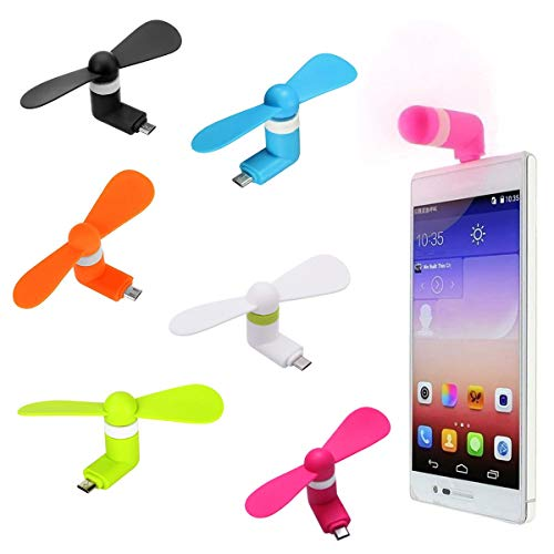 Mini-USB-Ventilator, 6 Stück, tragbarer Handy-Ventilator, Outdoor-Ventilator, Kühler, rotierender Ventilator für Android-Smartphones, Samsung Galaxy S7, S7 Edge, 6, 5, 4, 3, Note, Moto G5, J8