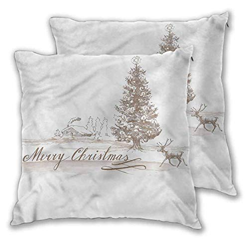 Christmas Throw Pillow Covers, 22 x 22 Inch Vintage Classic Xmas Easy to care Christmas decoration Set of 2