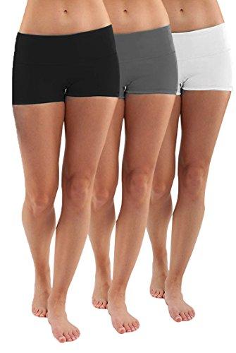 iloveSIA Pack 3X Sporthose Damen Shorty Hosen Kurze Jogginghose Sportbekleidung Fitness, L
