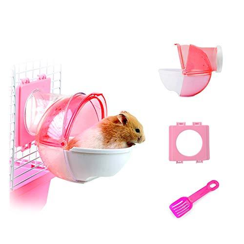 Andiker Baño de Arena para Hámster 3 Piezas Plástico Desmontable de Baño de Arena para Hámster Bañera Pequeña para Mascotas Váter Externo con Pala y Accesorio de Jaula para Hámster (L, Rosa)