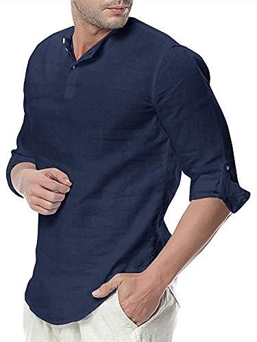 Pxmoda Herren Hemd Henley Leinenhemd Roll-up Sleeve & Kurzarm Freizeithemd Casual Sommer Men Shirts L A - Dunkelblau