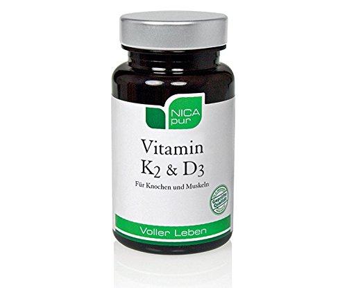 NICApur Vitamin K2 & D3 Kapseln für Knochen und Muskeln, 60 pcs. Capsules
