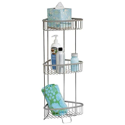 mDesign Balda para baño y ducha – Estante esquinero auxiliar inoxidable para...