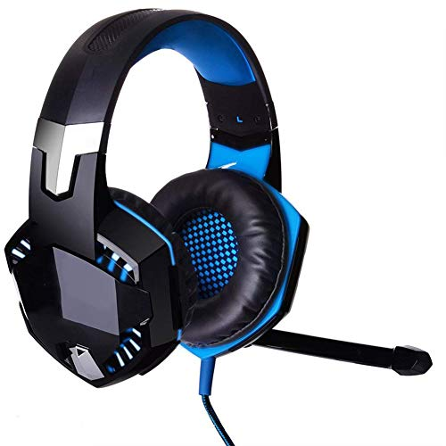 YCX Over-Ear Game Gaming Headphone Headset,Earphone Headband with Mic Stereo Bass LED Light for Game,Schwarz