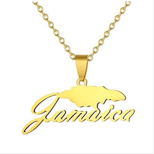 WYDSFWL Collar Jamaica Mapa Collares Pendientes para Mujeres Hombres Mapa de Acero Inoxidable Collar Cadena de Oro Joyería de Hip Hop Bijoux Collar de Regalo