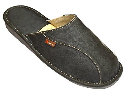BeComfy Chaussures en Cuir pour Homme Chaussons Mules Noir boîte à Cadeau en Option Modèle FM82 (46 EU, Gris)