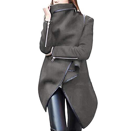 iHENGH Damen Herbst Winter Bequem Mantel Lässig Mode Jacke Frauen unregelmäßigen Bogen Reißverschlüsse Ärmel Langen warmen Mantel Wolle Jacke Parka Windbreaker(Kaffee, L)