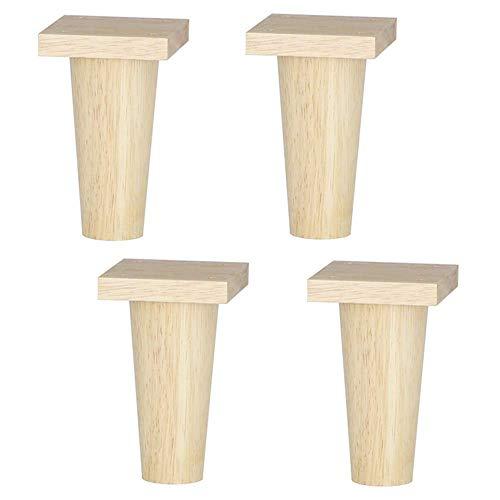 Patas de muebles, patas y tiempos de muebles de madera maciza;4, Patas de mesa de TV de color madera Mesa de centro recta cónica Unidad de alfombrilla antideslizante gruesa aumentada Encimeras (11,5