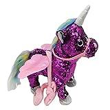 sharprepublic Caballo Que Camina Eléctrico del Caballo Musical Animal Relleno del Unicornio - Púrpura