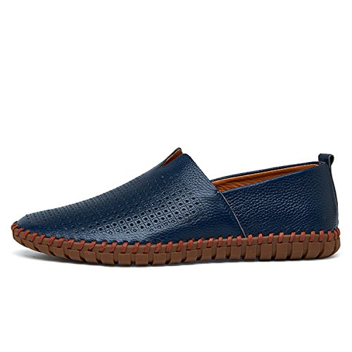 Perfectme Shoes Mens Loafers Handmade Moccasins Soft Leather Blue Slip On Men's Boat Shoe Plus Size 38~47 Blue Breathable 6