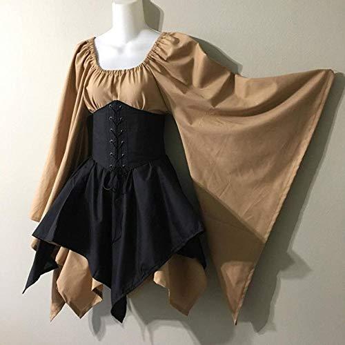 Fnho Vestido Vintage Mujer Medievales,Renacentista Disfraz Medieval para Mujer Vestido,Vestido de Corte Medieval, Falda evasé Delgada de Cintura Alta-D_S