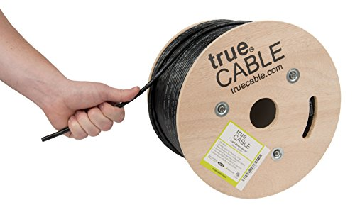 trueCABLE Cat6 Direct Burial, 500ft, Waterproof, Outdoor Rated CMX, Black, 23AWG Solid Bare Copper, 550MHz, ETL Listed, Unshielded UTP, Bulk Ethernet Cable