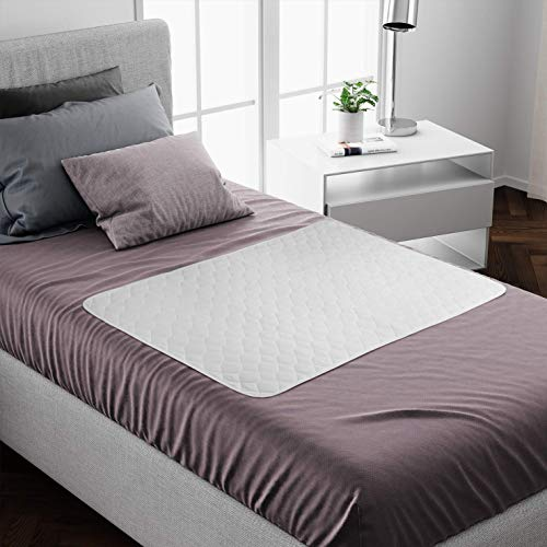 Washable Bed Protector/Pad WITHOUT Tucks - Pack of 2 | Best Kylie non-slip Mattress Protector for Incontinence & Bed wetting | Waterproof mat & Absorbs upto 8 Cups| Single bed Size - 90 x 85cm |White