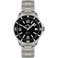 Protective scratch-resistant hard mineral crystal lens Round hypoallergic and tarnish resistant stainless steel case with analogue display Durable stainless steel 20 mm wide bracelet with fold over clasp Water resistant to 100 m Reliable quartz cryst...