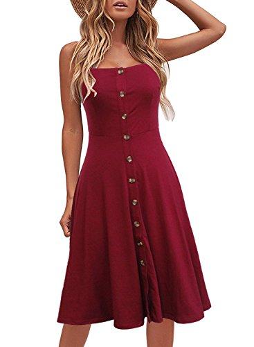 Berydress Women's Adjustable Spaghetti Strap Button Down Sun Dress Flared A-Line Backless Midi Summer Dresses (S, 6046-Burgundy)